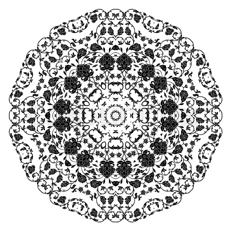 Stock image of 'Indian ornament, kaleidoscopic floral pattern, mandala.Black and white isolated round element.'