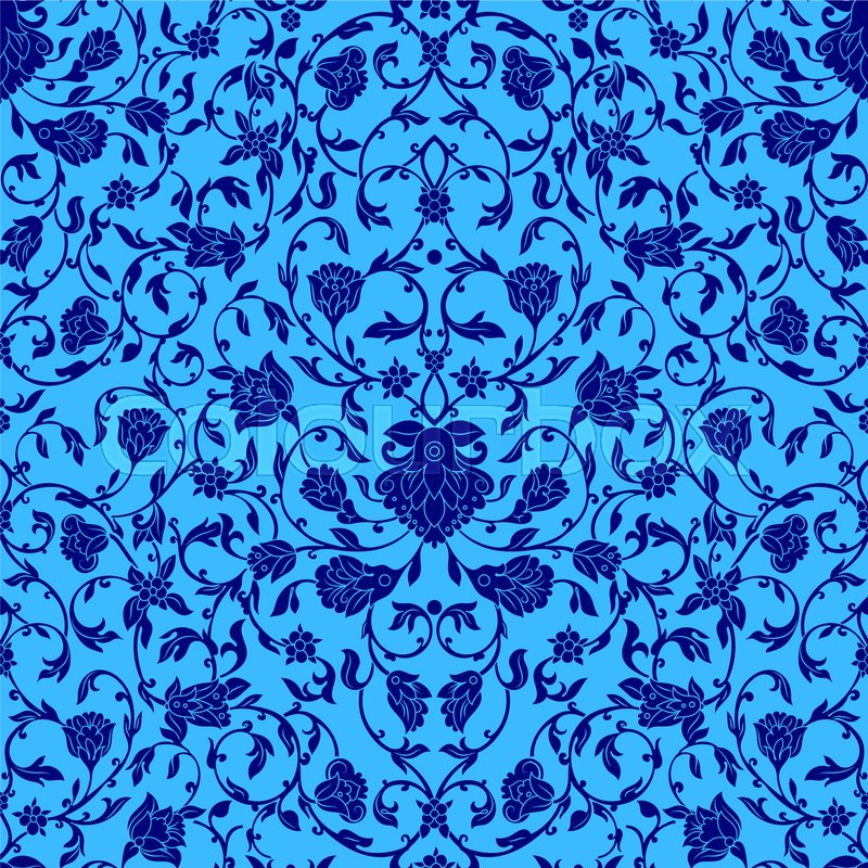 Stock image of ' intricate seamless pattern in Eastern style in bluecolor. Ornate elements for design.Inricate ornamental decoration , can be used on wedding invitations and greeting cards. Traditional floral decor.'