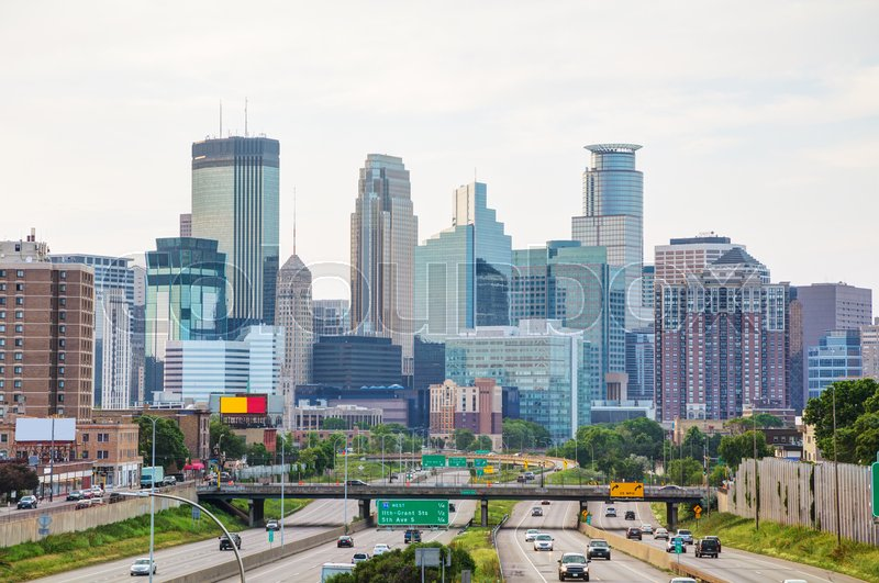 Stock image of 'Downtown Minneapolis, Minnesota early in the morning'