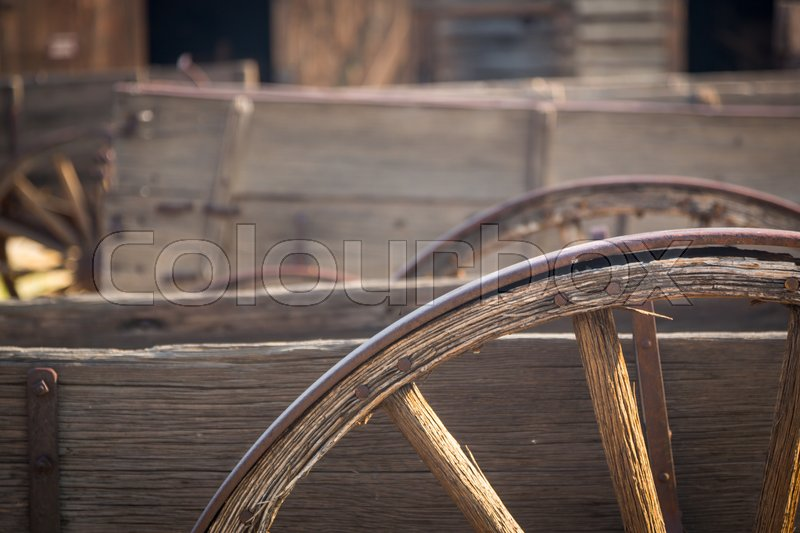 Stock image of 'Abstract of Vintage Antique Wood Wagon Parts.'