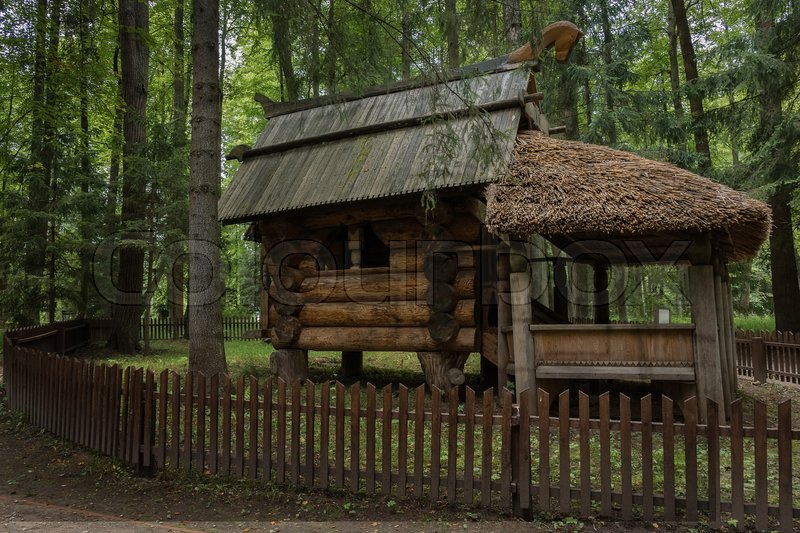 Stock image of 'The hut on chicken legs, Abramtsevo, Russia, the golden ring'