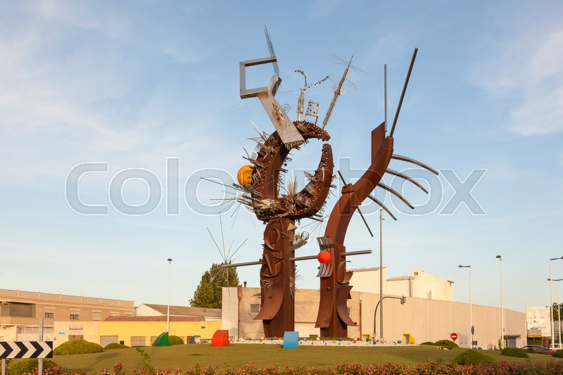 Editorial image of 'Murcia, Spain - May 27, 2017: Contemporary art monument from an unknown artist in the city of Murcia, Spain'