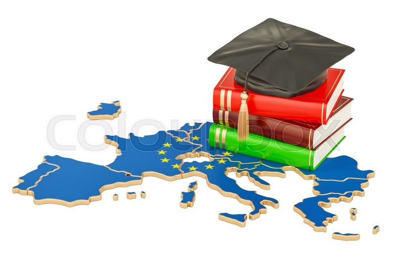 Stock image of 'Education in Europe concept, 3D rendering isolated on white background'