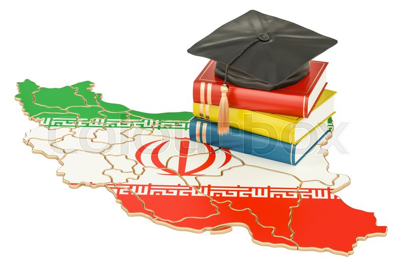 Stock image of 'Education in Iran concept, 3D rendering isolated on white background'