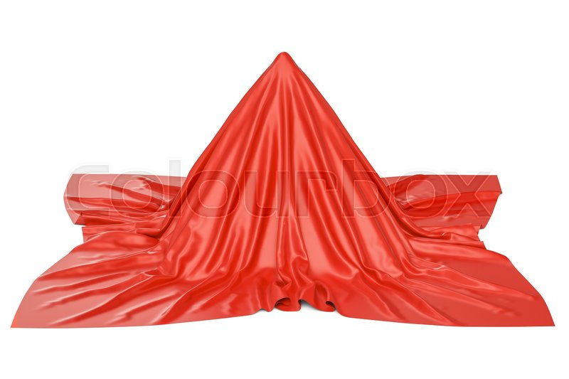Stock image of 'Object covered red cloth, 3D rendering isolated on white background'
