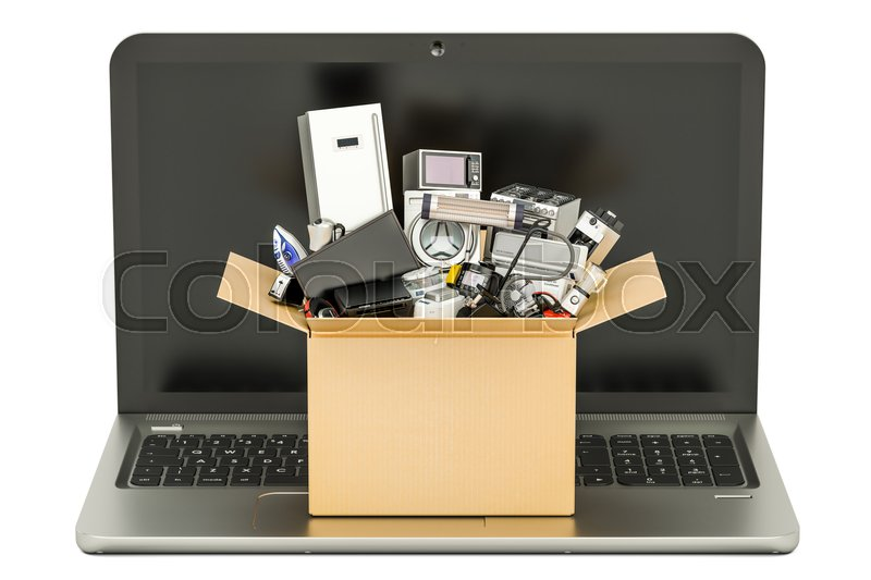 Stock image of 'Online Shopping concept with laptop and cardboard box full of home appliances, 3D rendering'