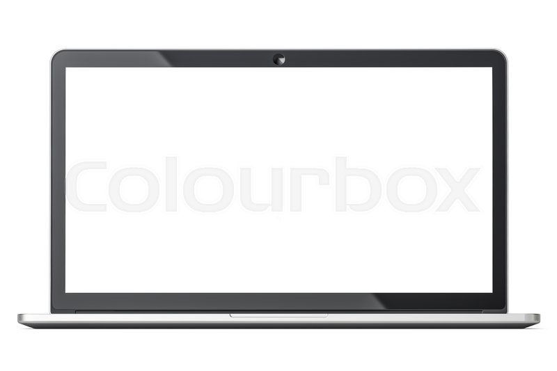 Stock image of 'Laptop closeup, front view with white screen, 3D rendering  isolated on white background'