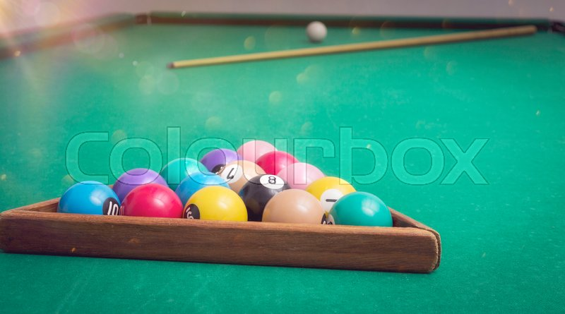 Stock image of 'Billiard Balls in a pool table.'