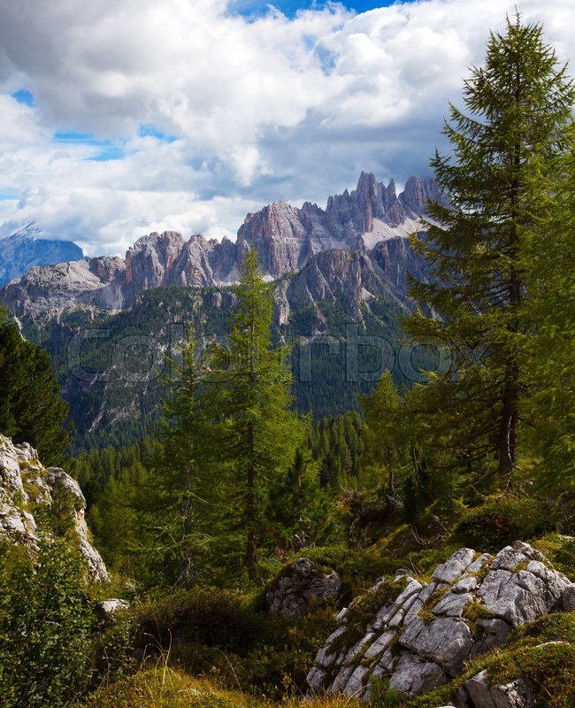 Stock image of 'Beautiful mountain view in the area Cinque Torri. Dolomites, Italy. '