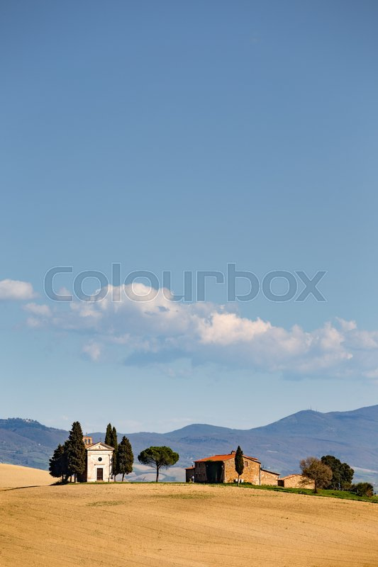 Stock image of 'View of the cappella di vitaleta. Tuscany, Italy '