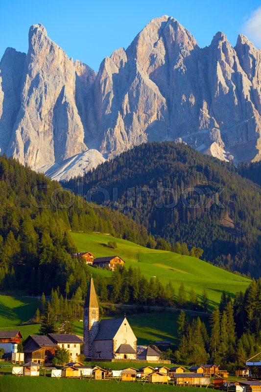 Stock image of 'famous beautiful church Santa Maddalena at the Dolomites,  Italy. '