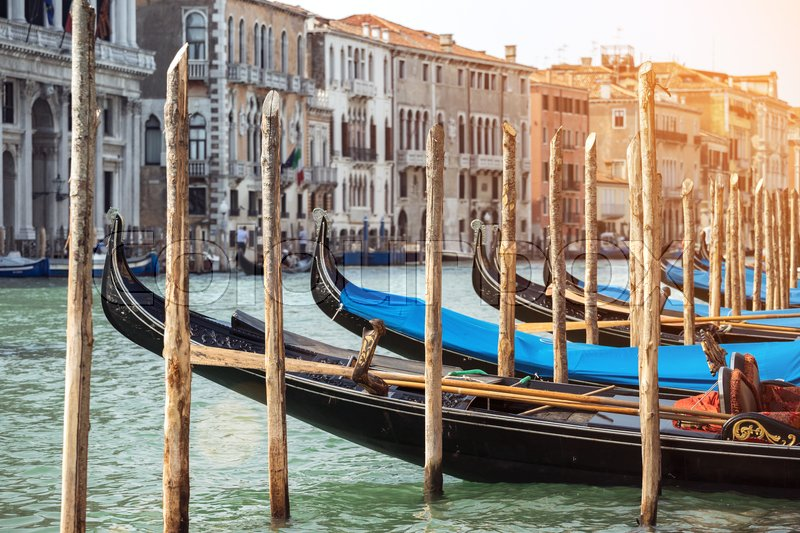 Stock image of 'Venice with famous gondolas at sunrise, Italy '