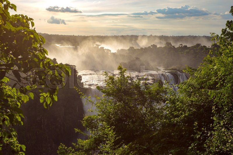 Stock image of 'view of worldwide known Iguassu falls at the border of Brazil and Argentina '