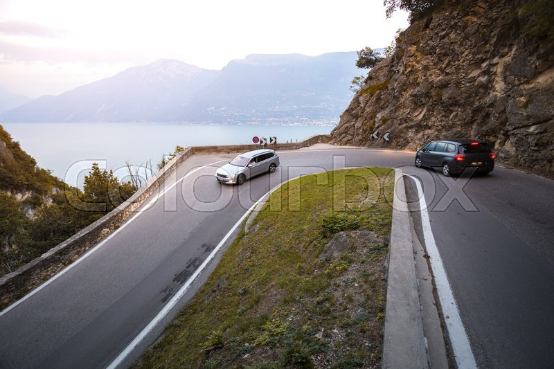 Stock image of 'view at the unique and famous Strada della Forra Scenic road at caves leading from Tremosine to Pieve  '