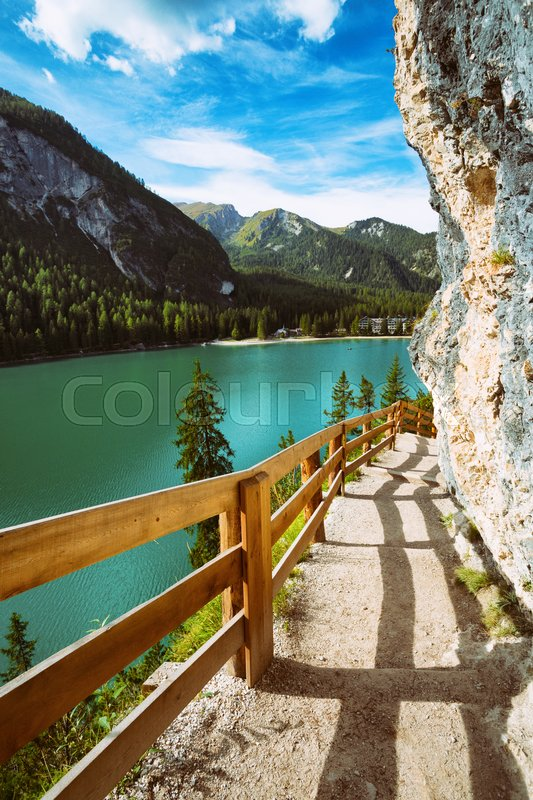 Stock image of 'walking trail around the Braies lake, Dolomites Italy '