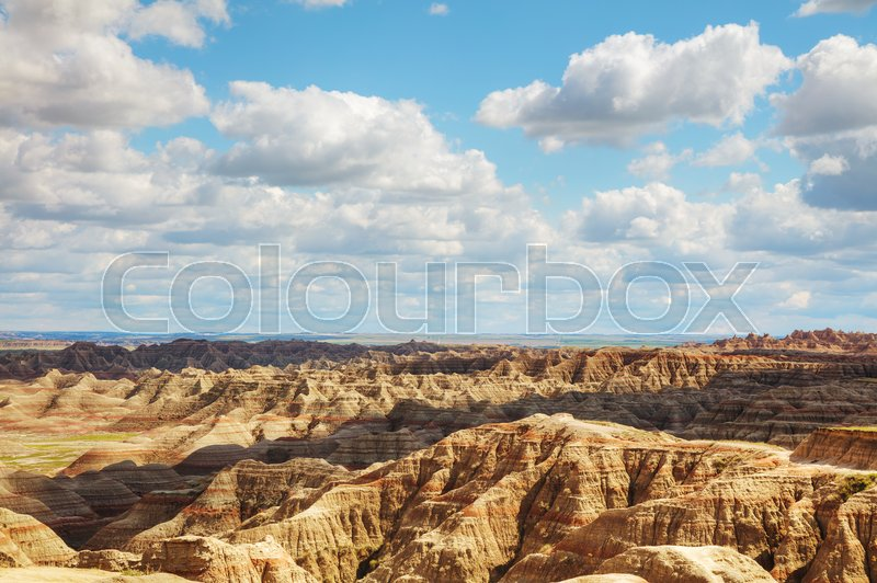Stock image of 'Scenic view at Badlands National Park, South Dakota, USA on acloudy day'
