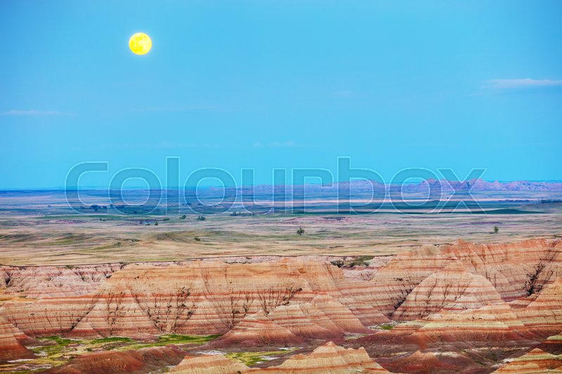 Stock image of 'Scenic view at Badlands National Park, South Dakota, USA at sunset'
