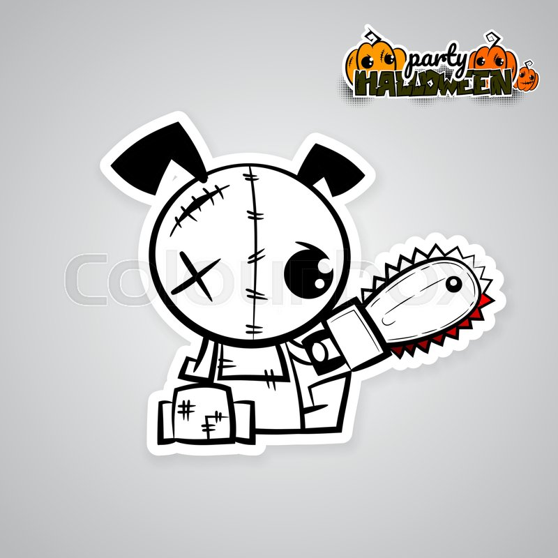Halloween Evil Dog Blood Saw Cartoon Funny Monster Pop Art Wow Comic Book Text Poster Party Ugly Angry Monochrome Thread Needle Sewing Voodoo Doll