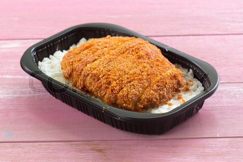 Stock image of 'fried pork topped on rice  Japanese food (tonkatsu)'