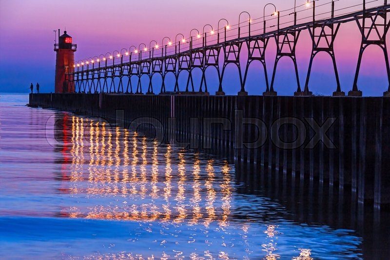 Stock image of 'The South Pierhead Light in South Haven, Michigan after Sundown'