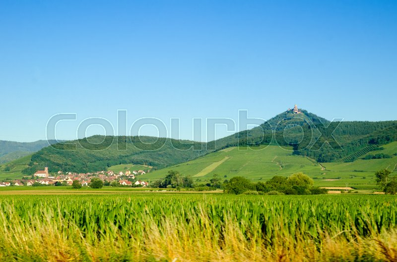 Stock image of 'rural scene of town in France'