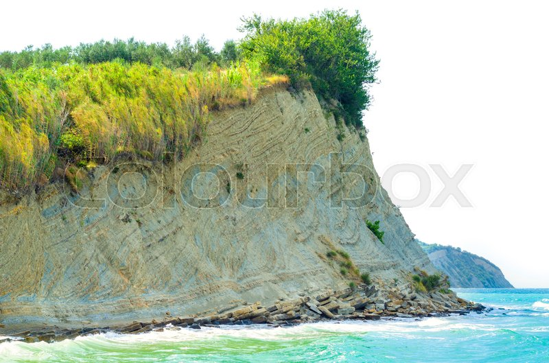 Stock image of 'sea cliff isolated on a white background'