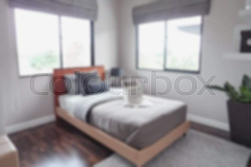 Stock image of 'Defocus background bedroom in lively style decoration'