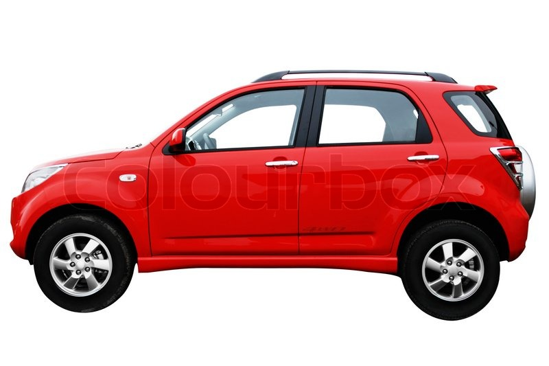 Beautiful red car isolated on white background, side view ...