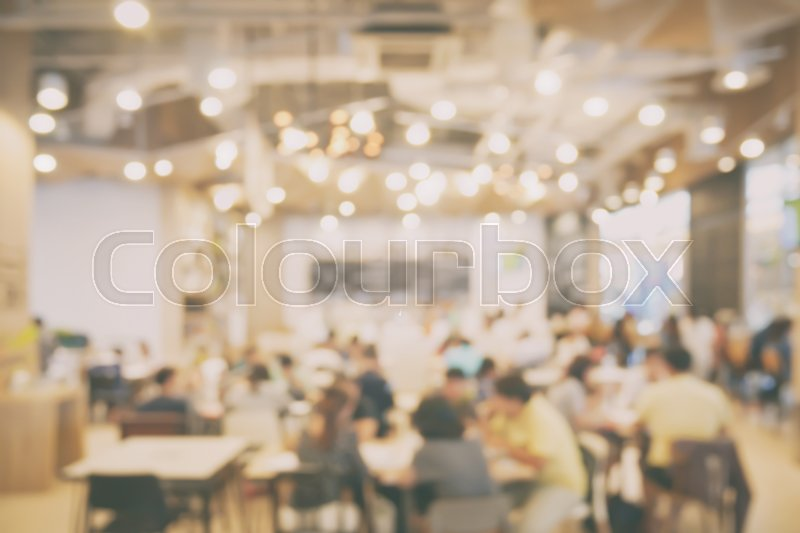 Stock image of 'Blurred background restaurant with lot of bokeh in vintage style effect'
