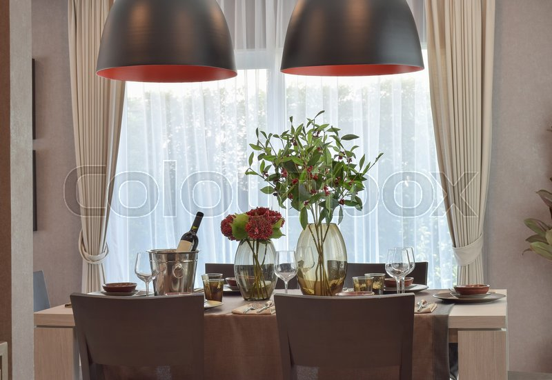 Stock image of 'Modern classic dining set in luxury dining room'