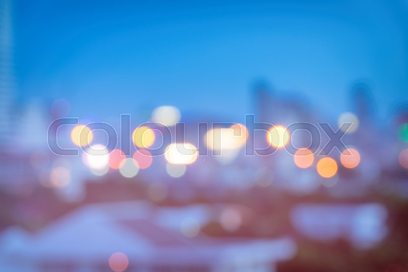 Stock image of 'Abstract urban night light bokeh, defocused background'