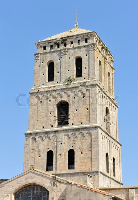 Editorial image of 'Bell tower of Romanesque Cathedrale Saint-Trophime of Arles, France'