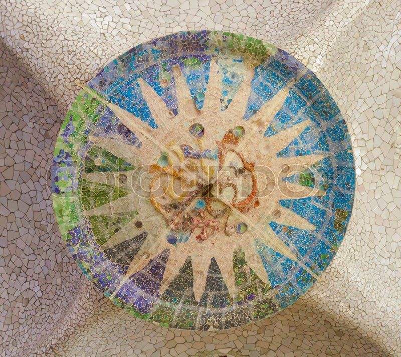 Stock image of 'mosaic details of park Guell mosaic at summer day, Barcelona, Spain'