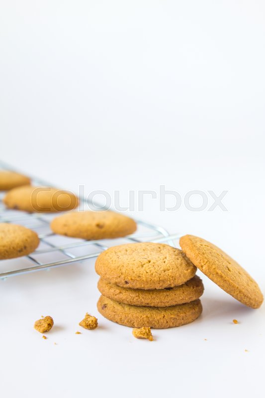 Stock image of 'Oatmeal cookies on white background'