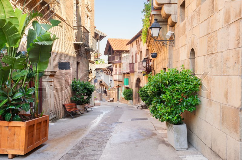 Stock image of 'Poble Espanyol street, traditional architecture site in Barcelona, Catalonia Spain'