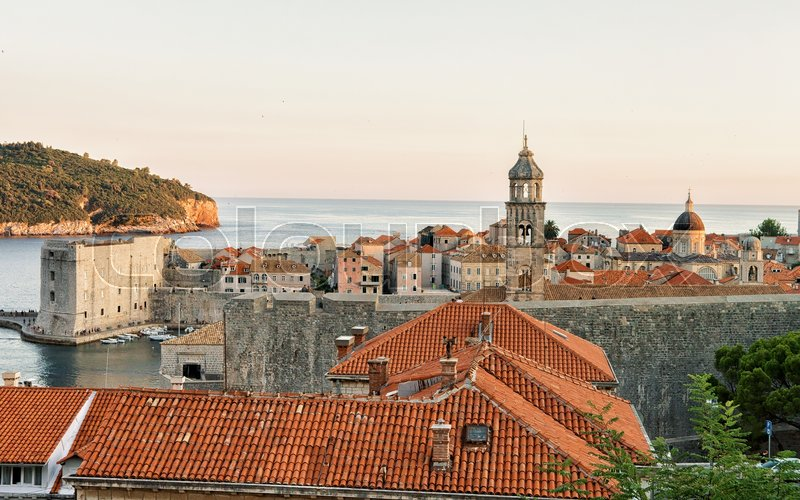 Stock image of 'St John Fort and Sailing boats at the Old port in the Adriatic Sea in Dubrovnik, in Croatia'