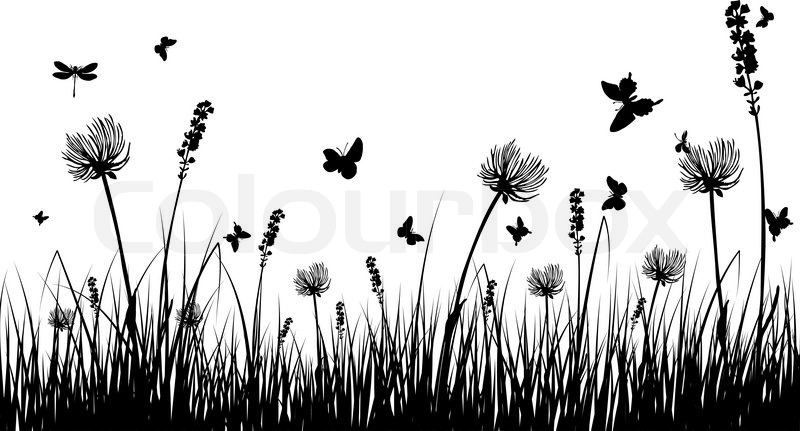 Vector grass silhouettes background for design use Stock