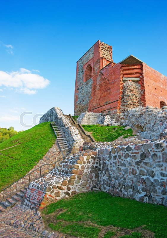 Ruins of the keep of the Upper Castle on the hill at the historic center of the old town of Vilnius, Lithuania, Baltic country, stock photo