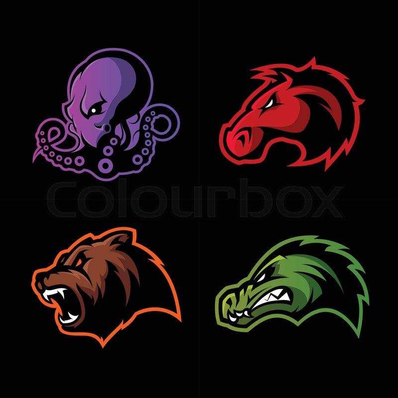 Furious Octopus Bear Alligator And Horse Head Sport Vector Logo