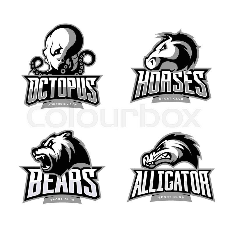 Furious Octopus Horse Bear And Alligator Sport Vector Logo Concept