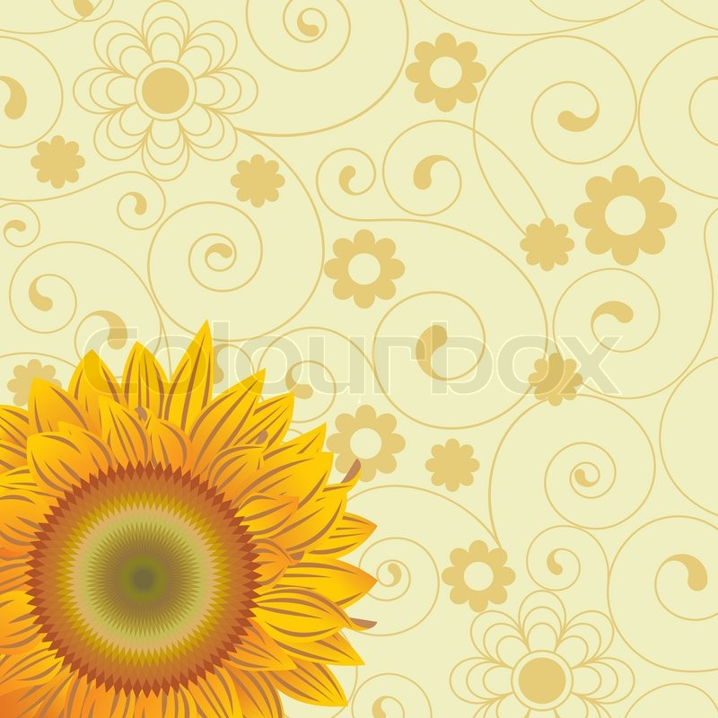 Chaotic lines and an abstract flowers and sunflower, vector
