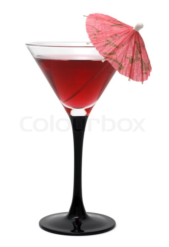 red refreshing cocktail with an umbrella isolated on white