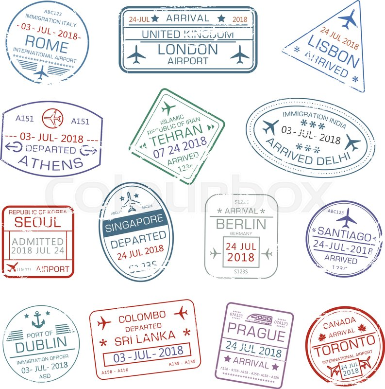 Passport Stamps Set With City Names Rome Italy London Or