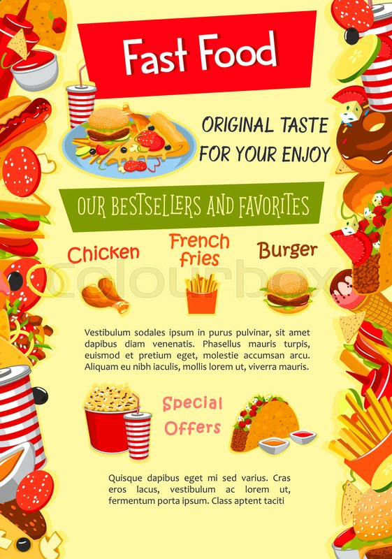 fast food poster template of fastfood menu snack burger and