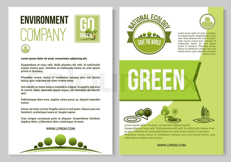 environment company and ecology poster or brochure template vector design of green trees forest gardens or parklands squares and eco woodlands for