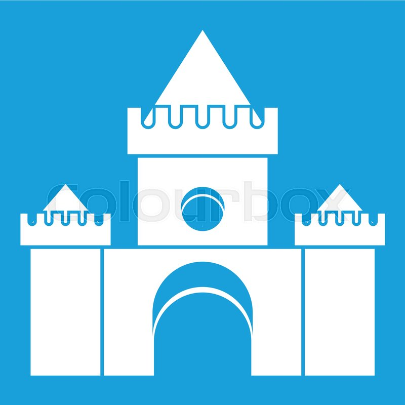 Fairytale castle icon white isolated on blue background vector illustration, vector