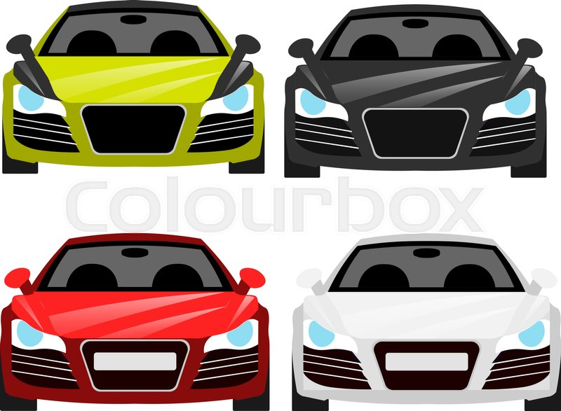 car flat vector icons in front view car vector