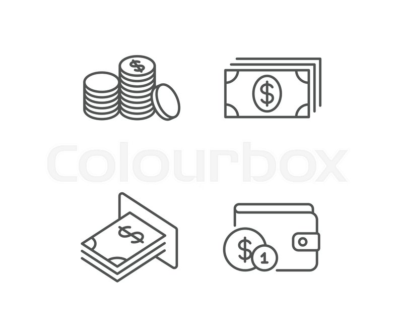 Money Cash And Wallet Line Icons Atm Currency And Coins Signs