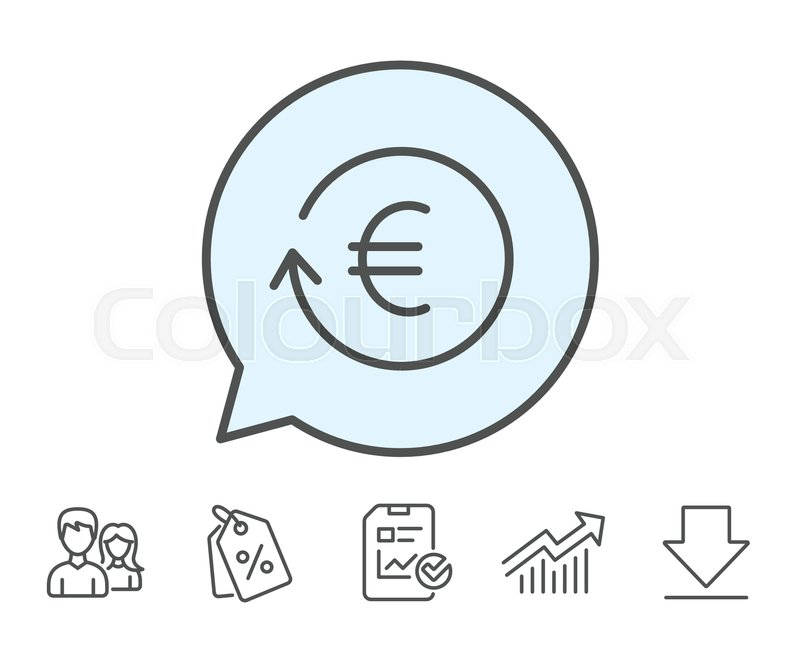 Euro Money Exchange Line Icon Banking Currency Sign Eur Cash
