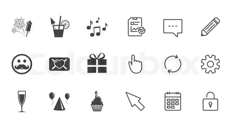 Party Celebration Birthday Icons Musical Notes Air Balloon And